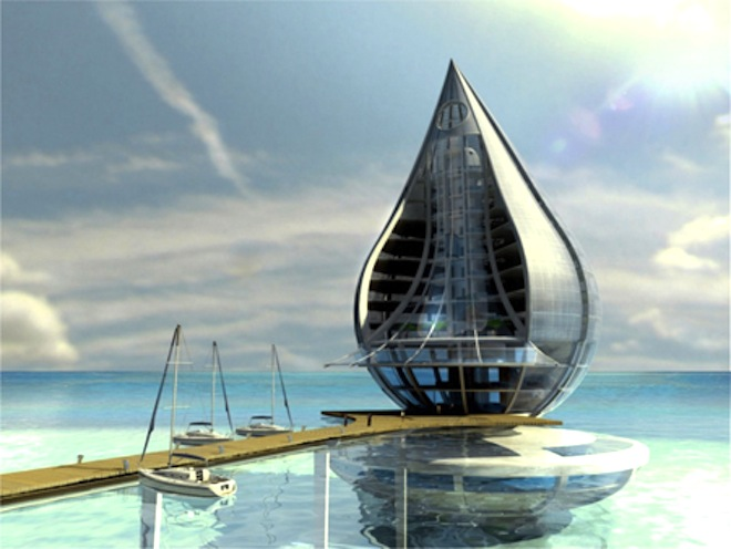 water building resort, Dubai, building sucks water from air, sustainable design, green design,