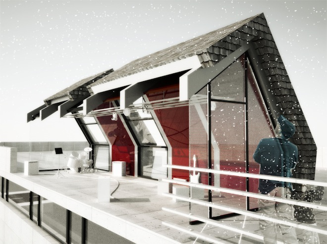 Bird's Nest: Solar-Powered Studio Perches on School Roofs
