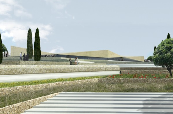 Palestine Museum, Heneghan Peng, green design, sustainable design, agriculture, water management, West Bank, traditional farming
