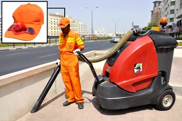 dubai s outdoor workers get solar powered cooling hats