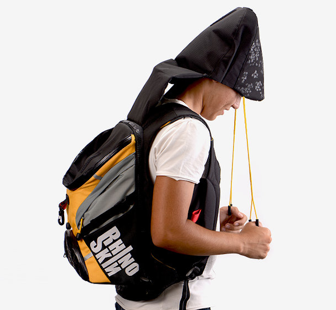 Rhino Skin, Hila Raam, bomb shelter back pack, portable bomb shelter, Israeli design, industrial design, war, Middle East