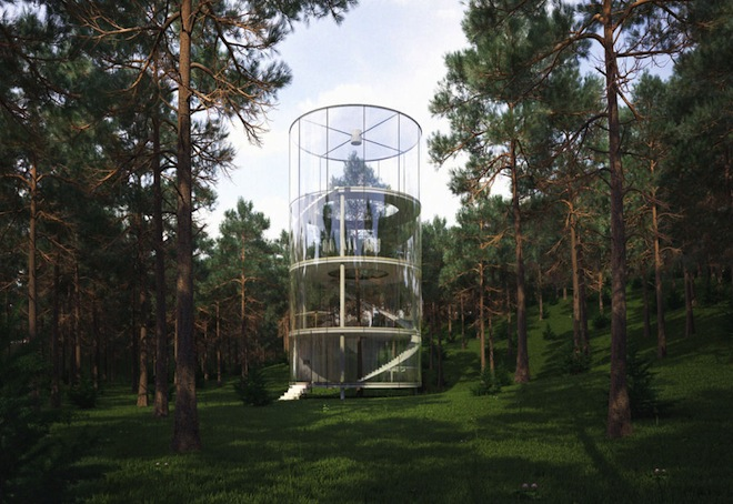 Kazakhstan House Around a Tree, A. Masow Design Studio, cylindrical glass house, earthquakes, Kazahkstan home in the mountains, glass houses, round houses,