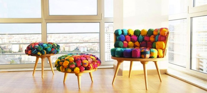 Recycled Silk Furniture, Meb Rure, recycled silk furniture, ottoman, Turkish design, green design, recycled materials, sustainable design, eco-design