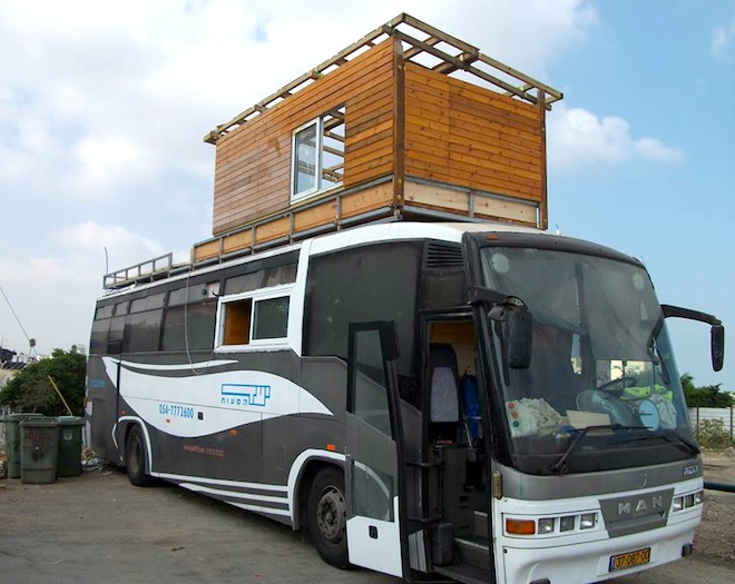 Israeli, Double Story Bus Home, green renovation, DIY, bus conversion, Israel bus conversion, high rent prices