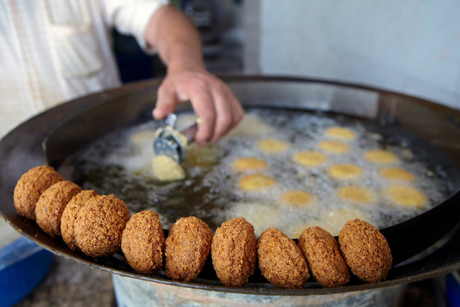 frying falafel in lebanon
