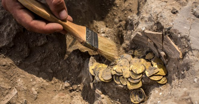 gold coins found in archeology dig in Israel