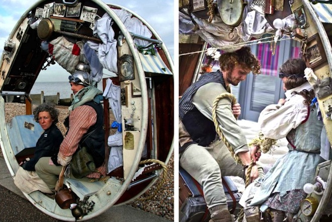 The Wheeled House, Acrojou, tiny house on wheels, structures made with recycled materials, circus and thither hybrid, eco-themed theater, theater with a green conscious, green design, sustainable design