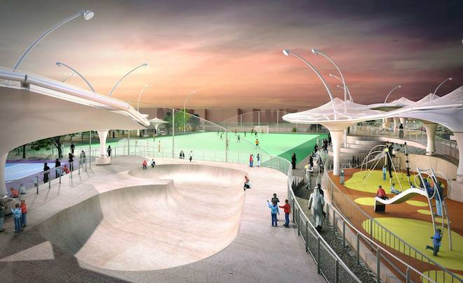Al Farjan Recreational Facilities, Grimshaw Architects, desert flowers, Qatar, World Cup, health, obesity, green design, design for health, recycled greywater, fabric canopies, shade, smart design, Qatar