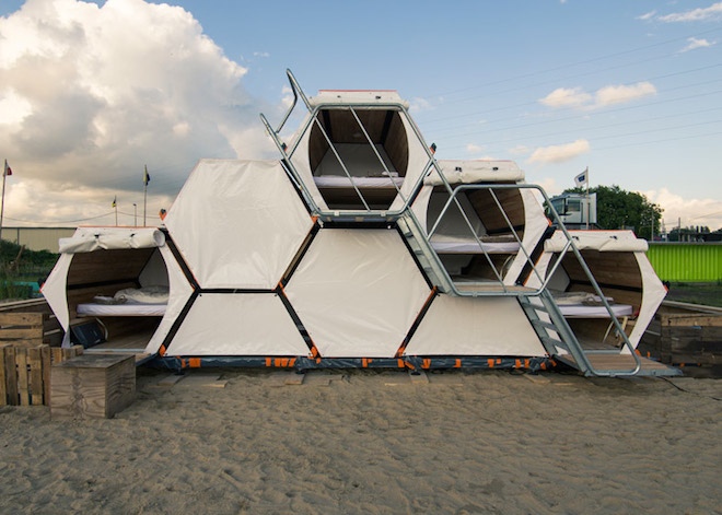 B-and-Bee, stackable sleeping cells, honeycomb shelters, belgian festivals, Barbara Vanthorre, Ron Hermans, Achilles Design, One Small Step, Compaan, Lambuer, social entrepreneurs, green design, refugee shelters, sustainable design