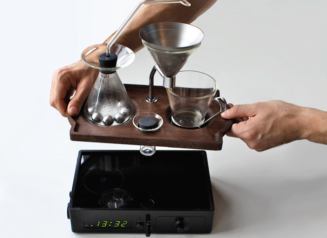 Barisieur, Joshua Renouf, coffee, arab coffee, coffee maker, hybrid coffee maker, alarm clock that brews coffee, design