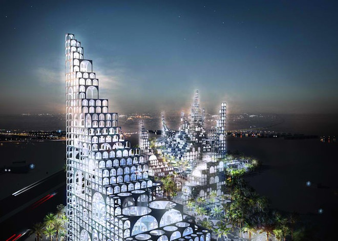 Doha Masterplan, Sou Fujimoto, green building, Qatar, Doha Masterplan, World Cup 2022, traditional Islamic Architecture, stacked modular arches, cooling waterfalls, passive design in Doha masterplan