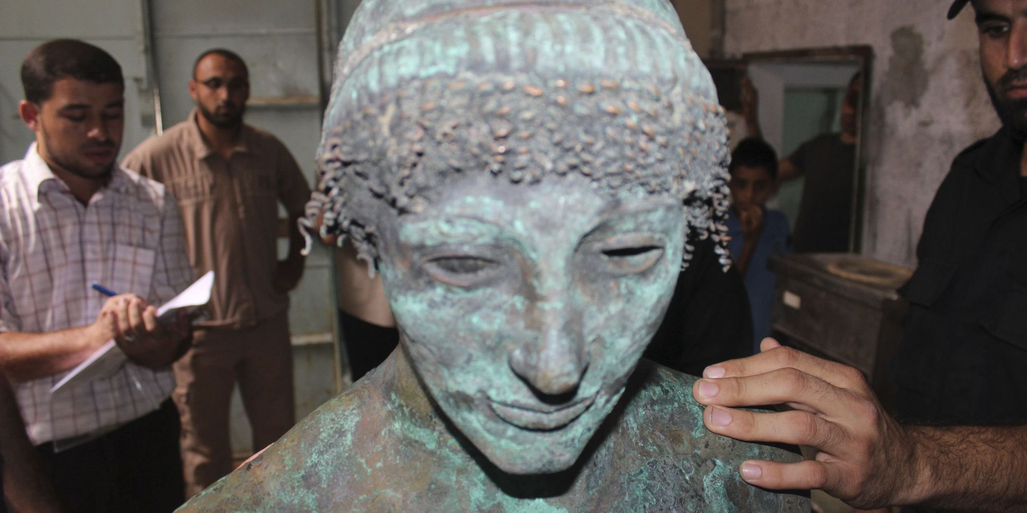 Handout of a bronze statue of the Greek God Apollo in Gaza