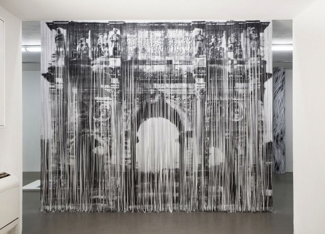 Naama Arad, Recycled Paper, Paper Installation, Israeli paper artists, green art, eco-art, curtain of xerox strips, recycled materials, wall made from paper