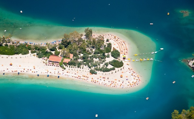 Oludeniz from a paraglide (bird's eye view), Fethiye, Turkey