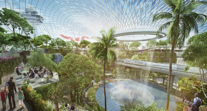 Project Jewel, Moshe Safdie, Habitat 67, Israeli architects, Singapore, Changi Airport, Mixed Use Development, Bio Dome, Indoor Garden, green wall, bio dome