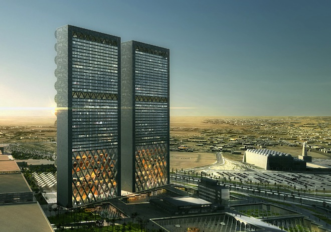 REX, Media Headquarters, mashrabiya, solar gain, middle east, arab architecture, arab design, LED lights, blooming sunshades