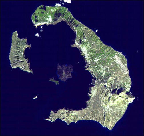 Santorini islands and volcano