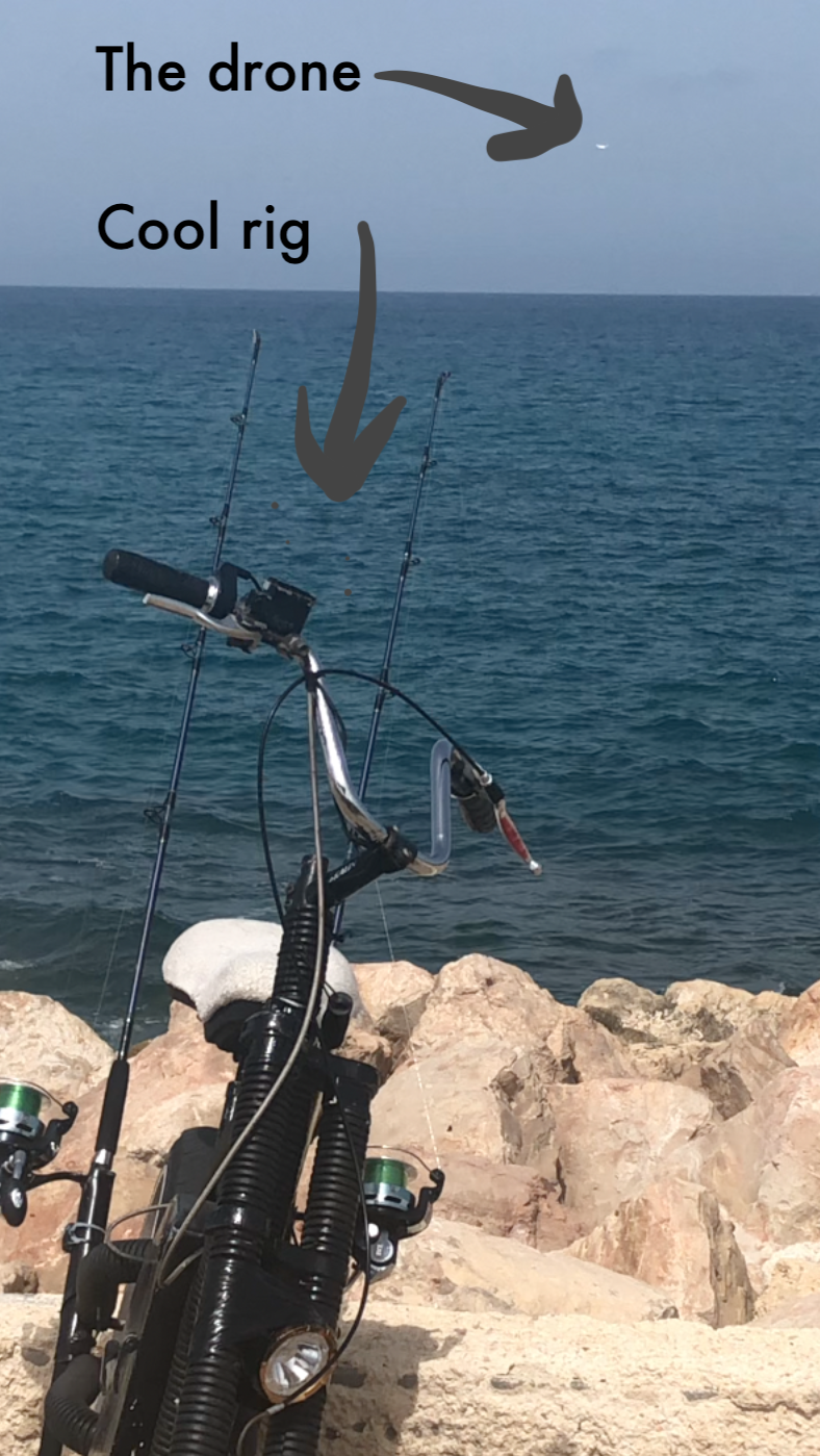 fishing drone cast from bike in Tel Aviv Jaffa