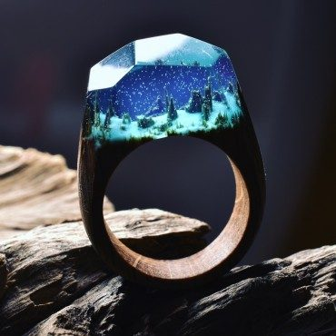 Plant a tiny landscape on your finger with a Secret Wood ring