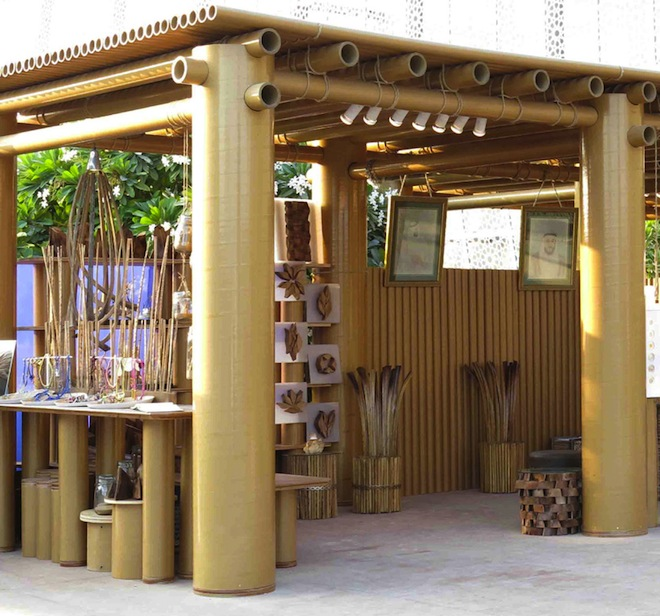 Shigeru ban 39 s design souq pavilion is made entirely of for Utilisima reciclaje muebles