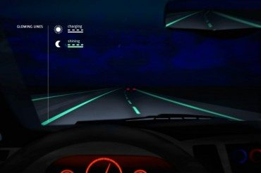 Glowing highways make it look like we're driving through eco-fairytales