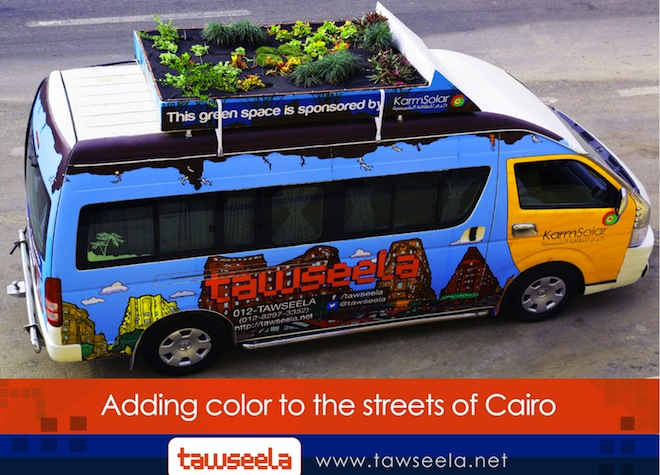 Tawseela, public transportation, prebooked buses in Cairo, Egypt, green tranportation