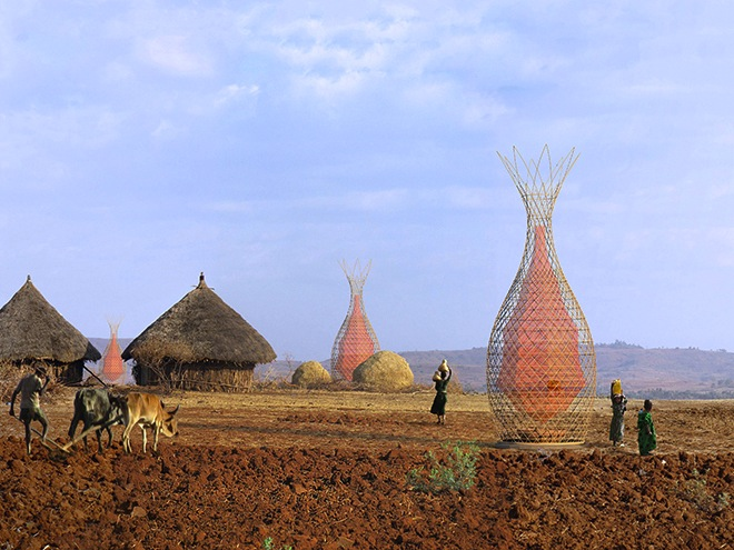 Bamboo WarkaWater tower harvests potable water from air