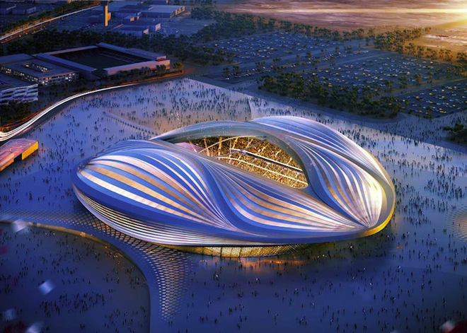 Zaha Hadid, Qatar, World Cup 2022, IFA Secretary General, Jerome Valcke, summer World Cup 2022, vagina stadium