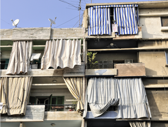Apartments in Yemen, with curtains