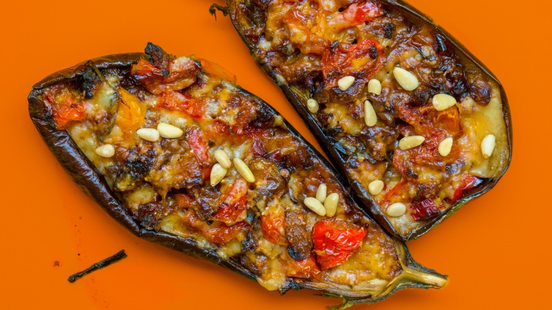 Eggplant Stuffed With Cheese And Tomatoes