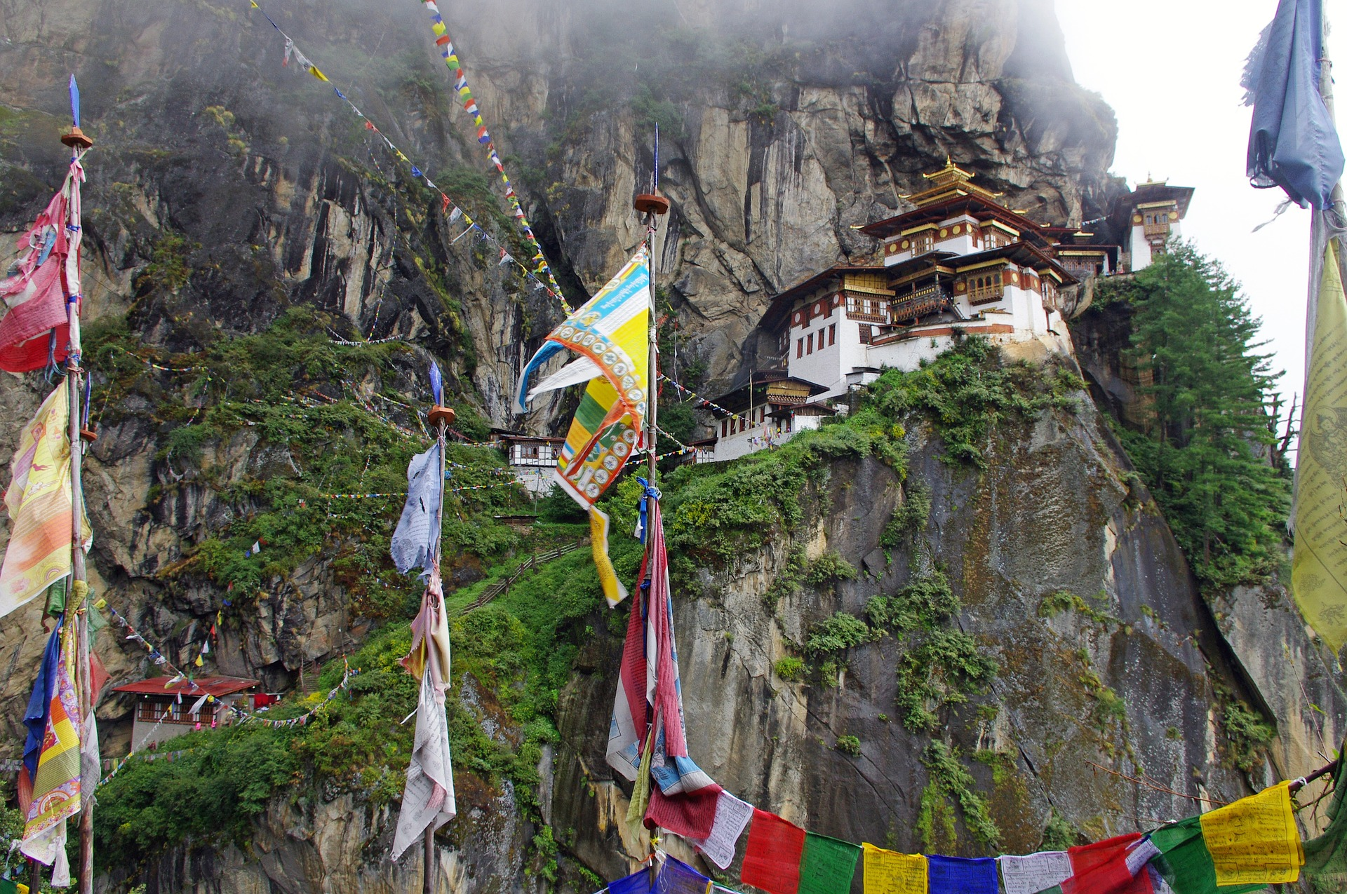 bhutan temple in the mountains