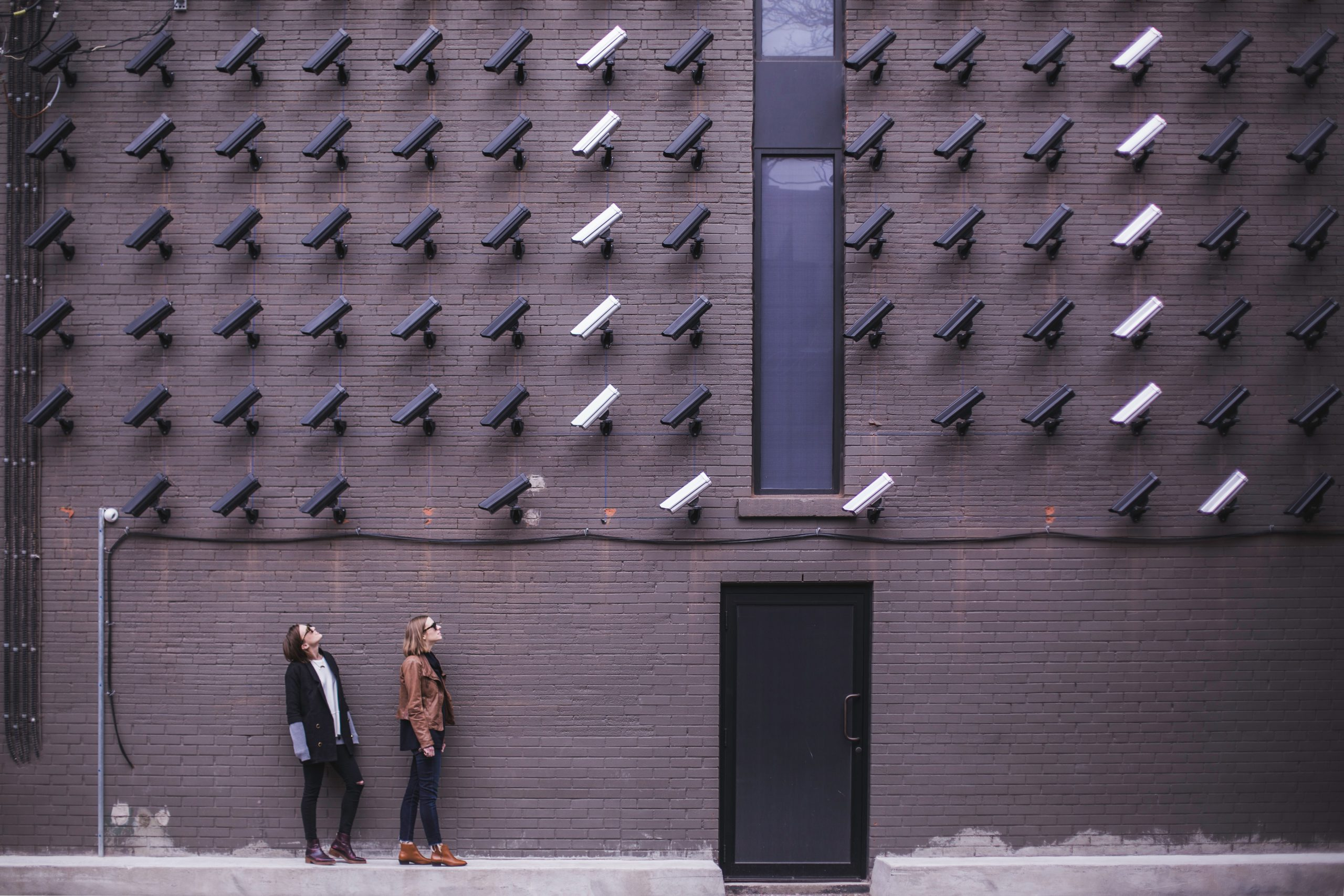 cameras watching 2 women in the city, no privacy