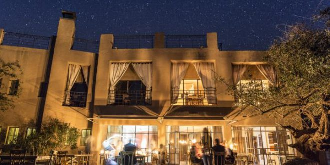 eco hotel jordan lite by candles, stars at night