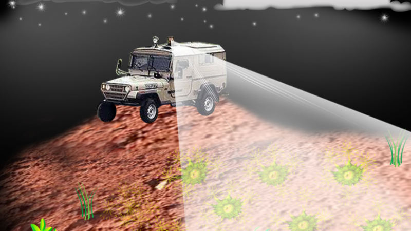 Landmine detection using lasers and engineered glow bacteria