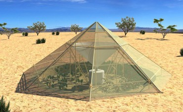 Futuristic dome collectors collect dew for drinking water and crops