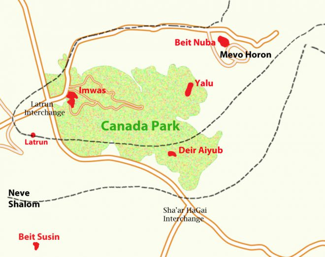 Imwas amwas map national park Canada Park, Israel