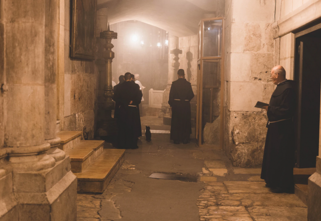 monks in brown robes, Jerusalem