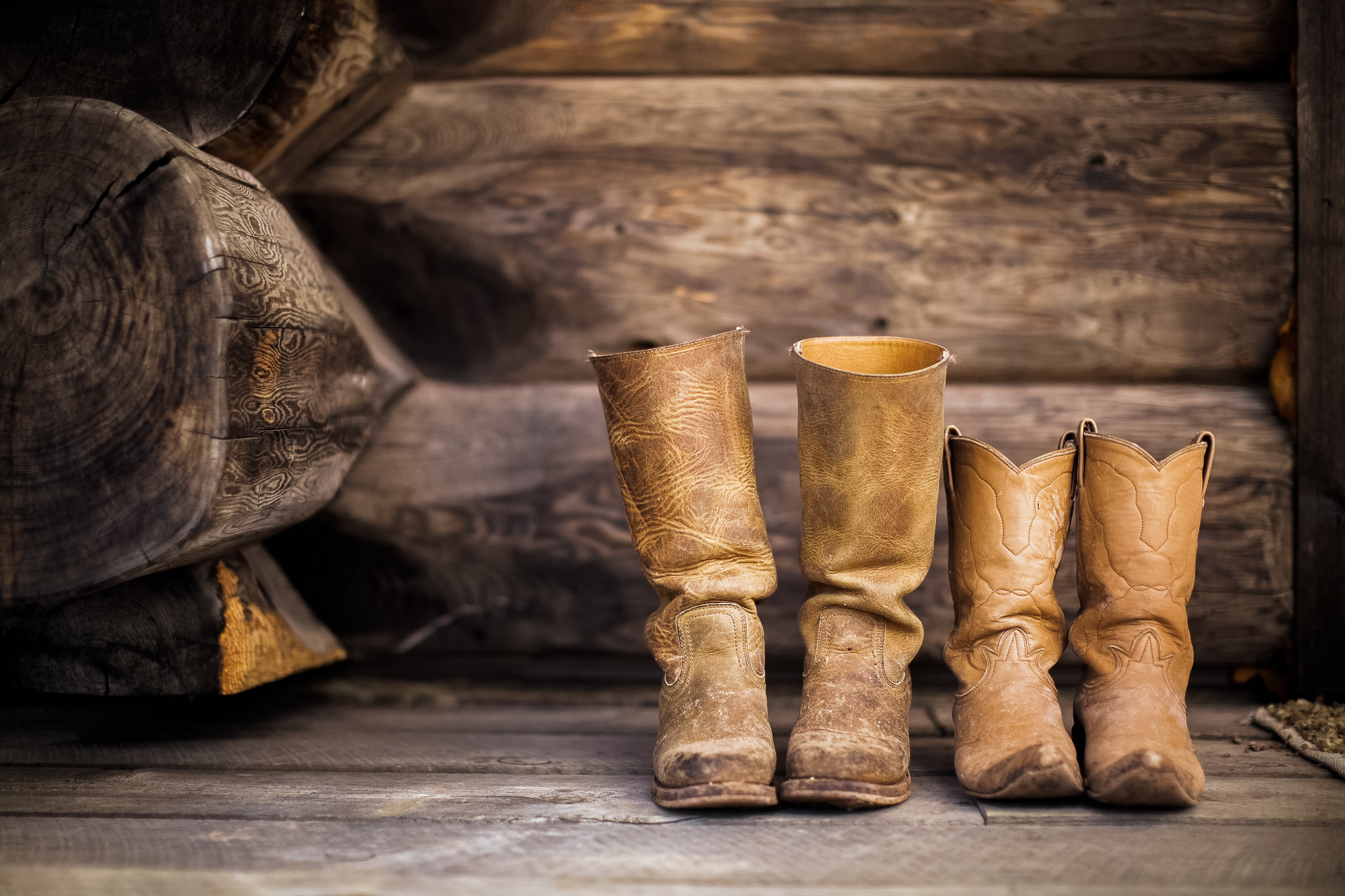 cowboy boots on a wooden floor