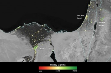 NASA sees Mideast holiday lights from space