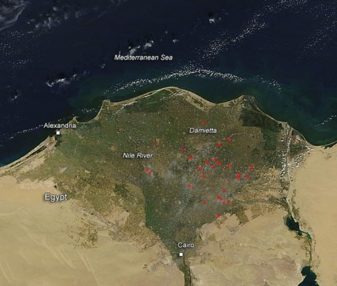 NASA catches Egypt's black cloud rice fires on camera