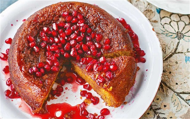 Pomegranates and oranges take this cake! A recipe