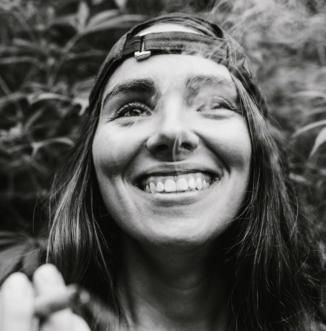 woman smiling smoking cannabis