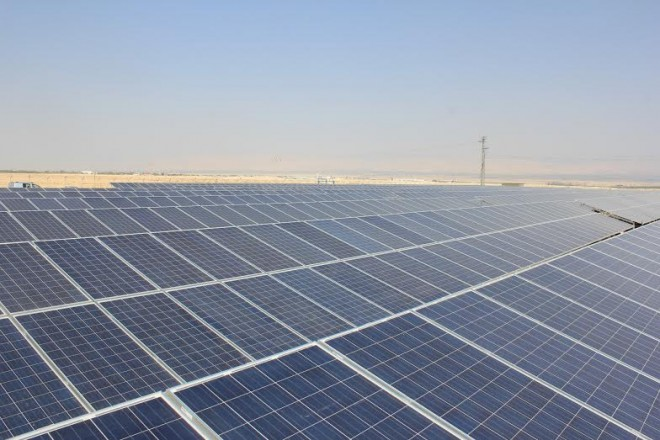 Solar panels at Dead Sea PV Generating Plant
