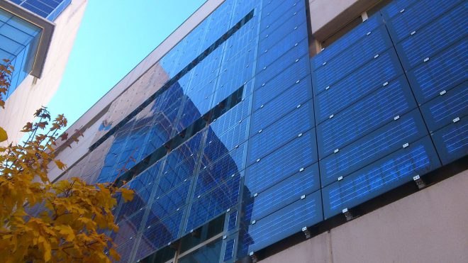 bifacial two sided solar panel on an office building