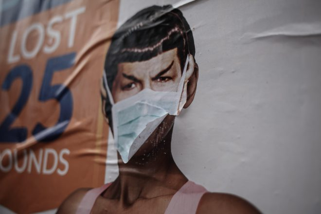 spock wearing a covid-19 mask