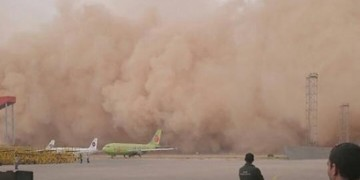 Massive sandstorm swallows Amman's airport!