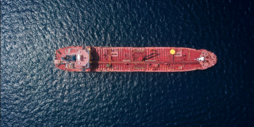 FSO oil tanker from above