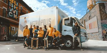 eco moving van, bunch of guys moving day, Brookylin