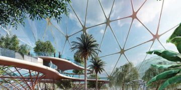 ryadh full of trees, biodome rendering