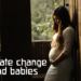 climate change, pregnant woman in window, wedding dress